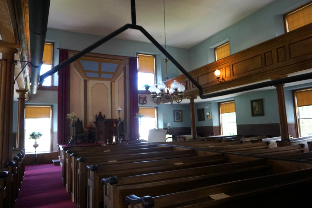 Inside the Cobblestone Universalist Church in Childs, New York
