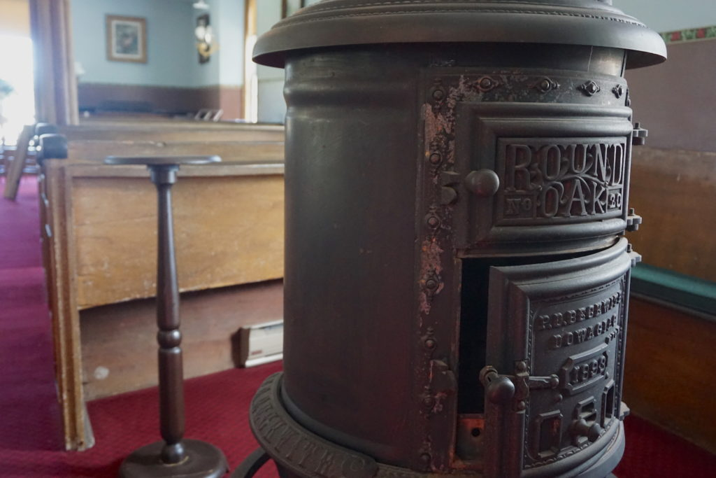 Wood Burning Stove in the Cobblestone Universalist Church in Childs, New York