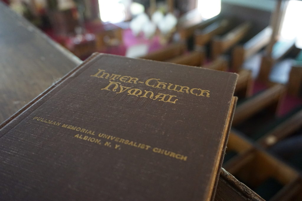 Hymnal at the Cobblestone Universalist Church in Childs, New York