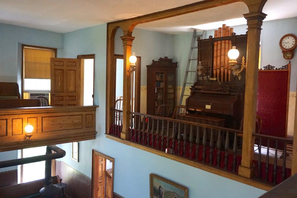 Upstairs Balcony View of the Cobblestone Universalist Church in Childs, New York