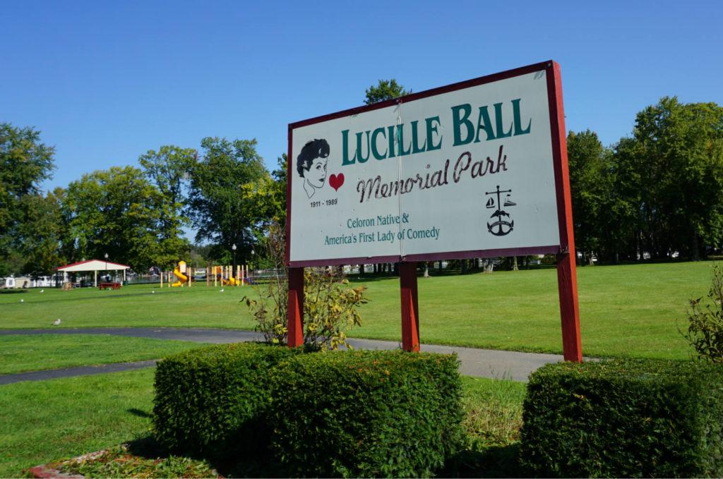 Sign for Lucille Ball Memorial Park in Celeron, New York