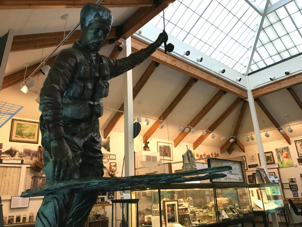 Bronze Statue in the Catskills Fly Fishing Museum and Center in Livingston Manor, New York