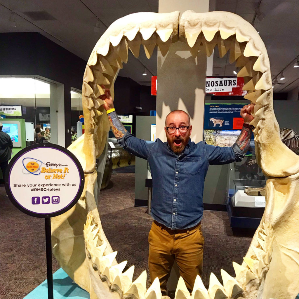 Chris Clemens with Shark's Mouth at the Rochester Museum & Science Center