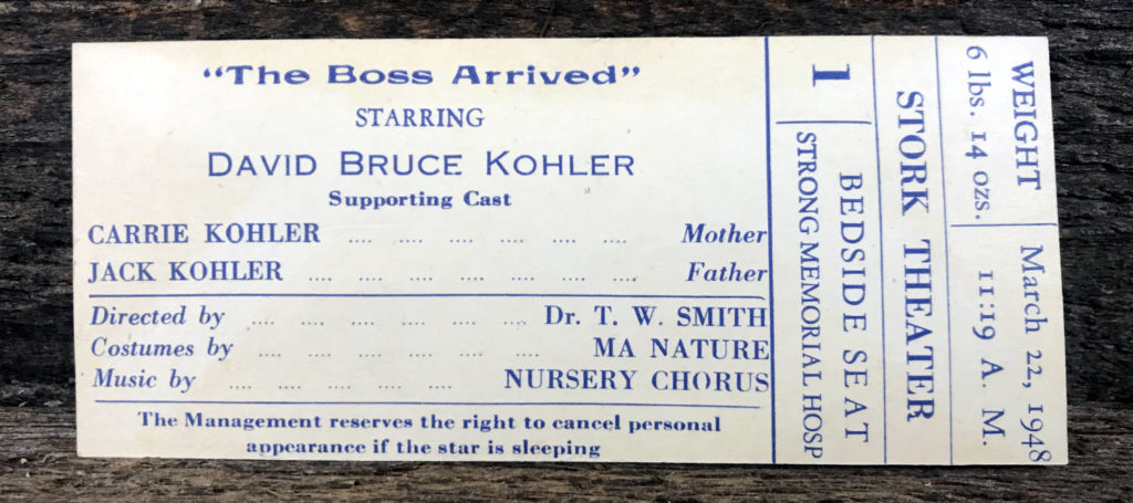 Birth Announcement as Theatre Ticket from Rochester, NY 1948