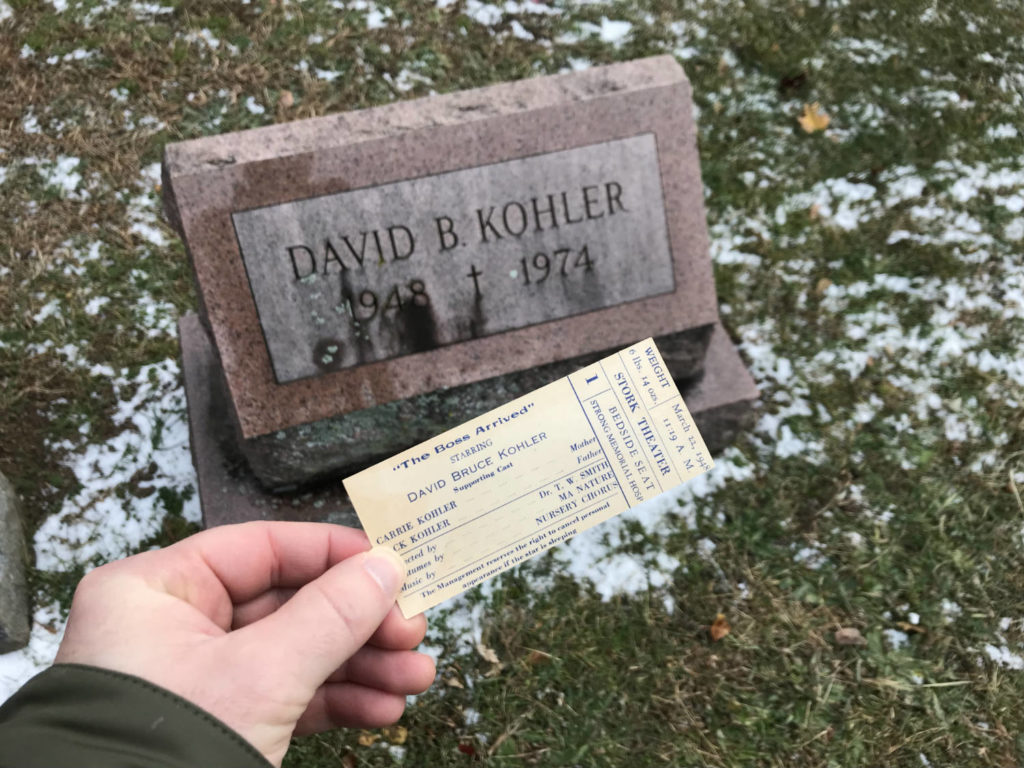 Gravesite of David Bruce Kohler with Birth Announcement