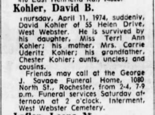 David Bruce Kohler Obituary from Democrat and Chronicle, Published April 12, 1974