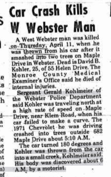 Webster Herald Article on David Bruce Kohler from April 17, 1974