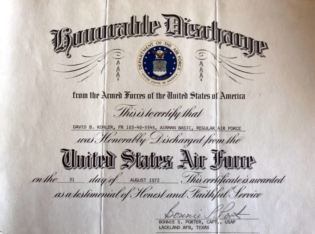 David Bruce Kohler Honorable Discharge Papers 1972