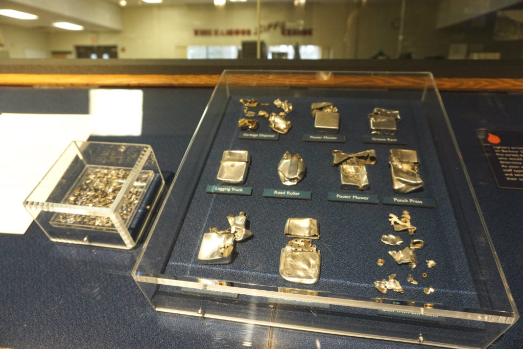 Broken Zippos at the Zippo Case Museum in Bradford, Pennsylvania