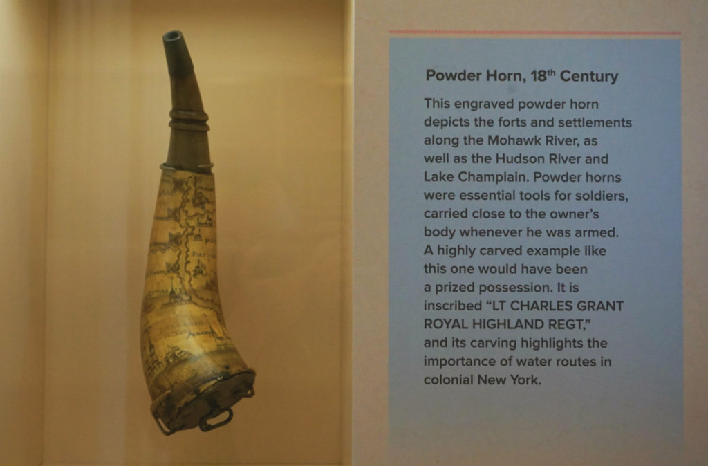 Powder Horn on Display at the Schoharie Crossing State Historic Site