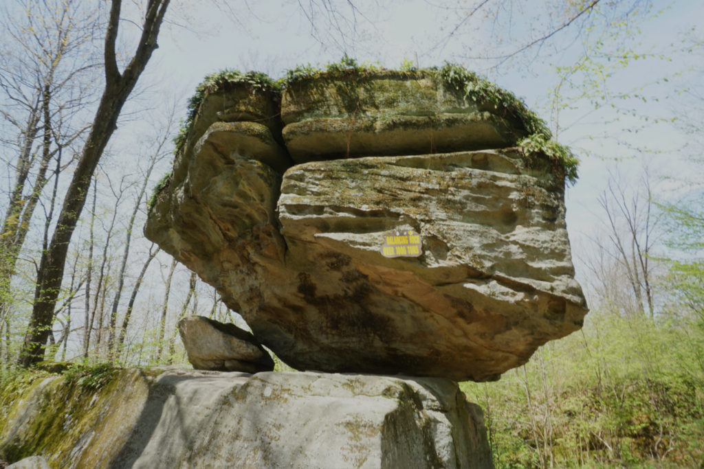 Balancing Rock in Rock City Park in Olean, New York