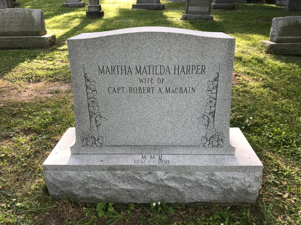Grave of Martha Mathilda Harper in Riverside Cemetery in Rochester, New York