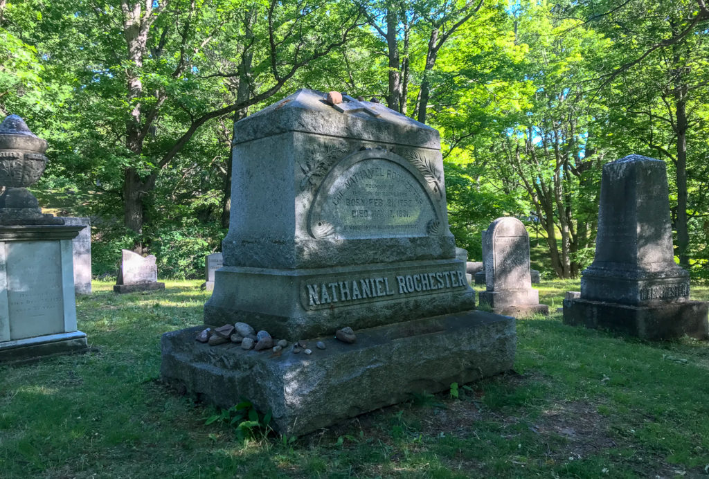 Grave of Nathaniel Rochester in Mt. Hope Cemetery in Rochester, New York