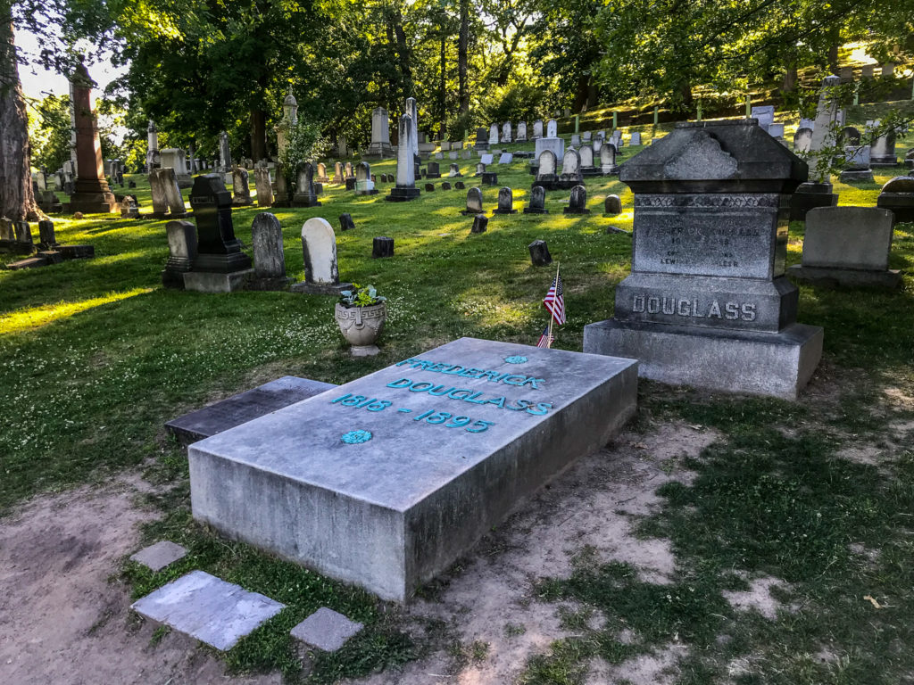 Grave of Frederick Douglass in Mt. Hope Cemetery in Rochester, New York