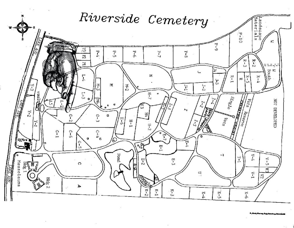 Map to Grave of Kate Gleason in Riverside Cemetery in Rochester, New York