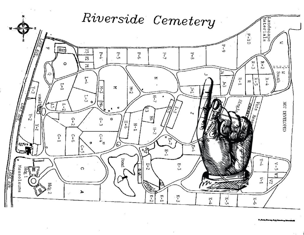 Map to Grave of Martha Mathilda Harper in Riverside Cemetery in Rochester, New York
