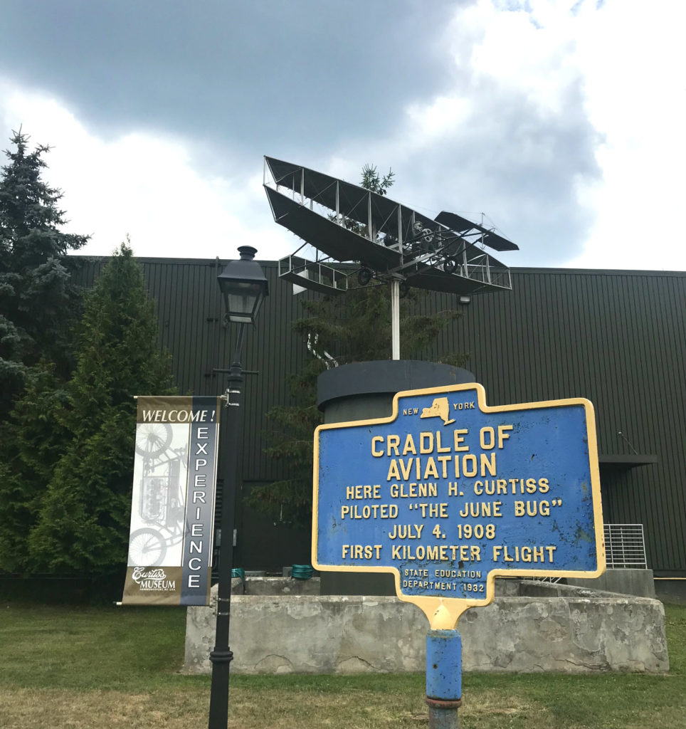 Glenn Curtiss First Flight Historical Marker in Hammondsport, New York