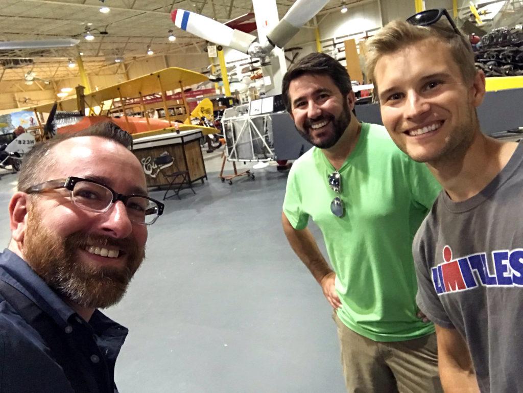 Chris Clemens, Matthew Ray, and Andrew Brady at the Glenn H. Curtiss Aviation Museum in Hammondsport, New York