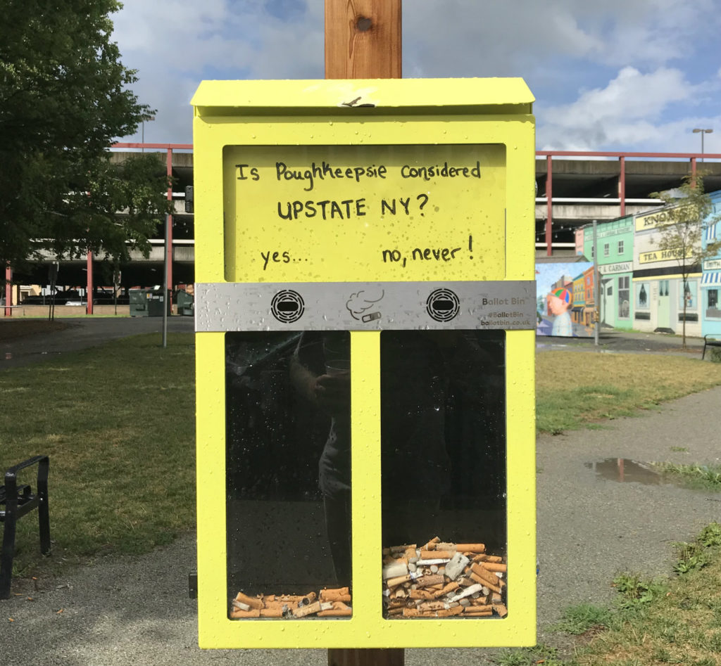 Cigarette Butt Voting Booth in Poughkeepsie, New York