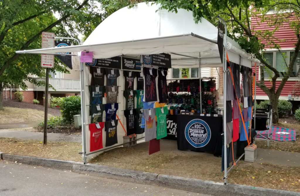 Transit Apparel Booth at the Corn Hill Arts Festival in Rochester