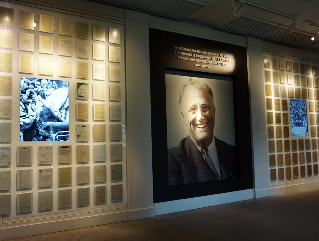 Welcome Area to the FDR Presidential Library and Museum in Hyde Park, New York