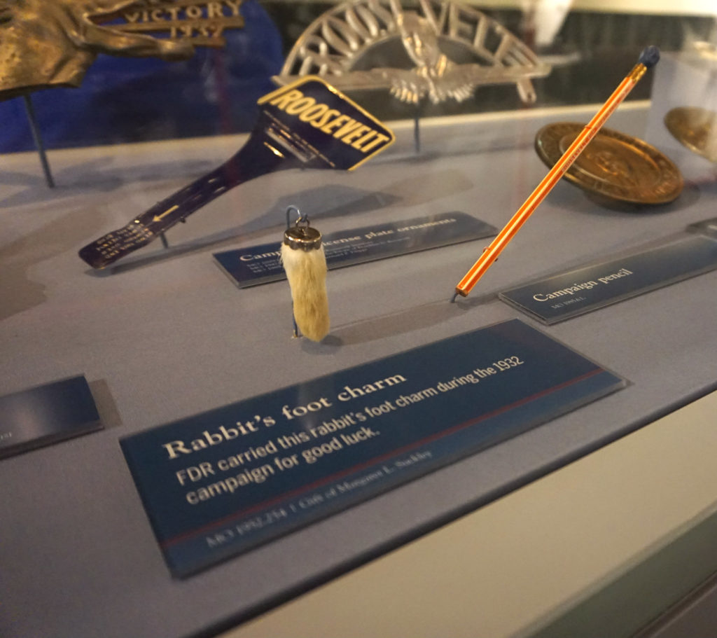 FDR's Lucky Rabbit's Foot Charm in the FDR Presidential Library and Museum