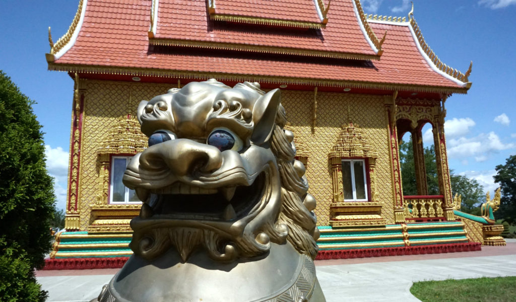Outside the Temple at the Wat Pa Lao Buddhadham in Henrietta, New York