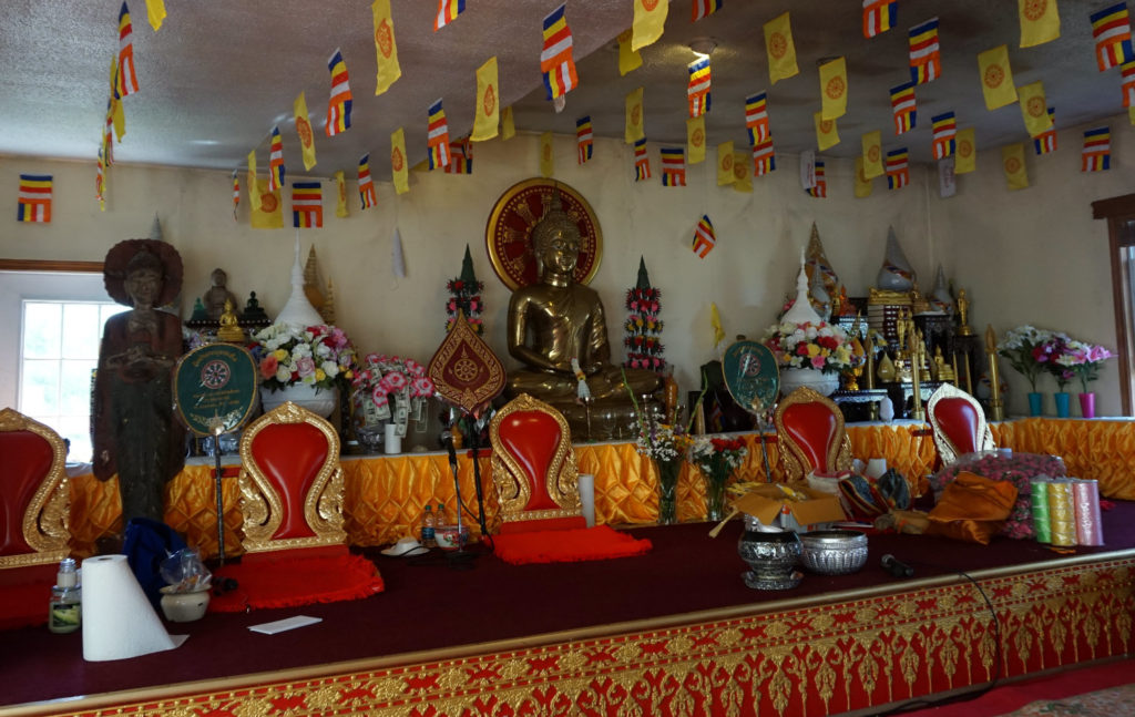 Inside the Wat Pa Lao Buddhadham in Henrietta, New York