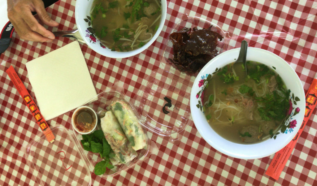 Pho and Spring Rolls at Wat Pa Lao Buddhadham in Henrietta, New York