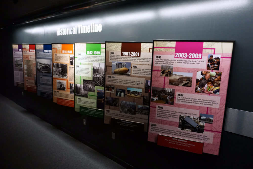 Historical Timeline Exhibit at the Mt. Morris Dam and Recreational Visitor Center