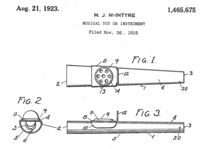 Kazoo Patent Held by Michael McIntyre of Eden, New York