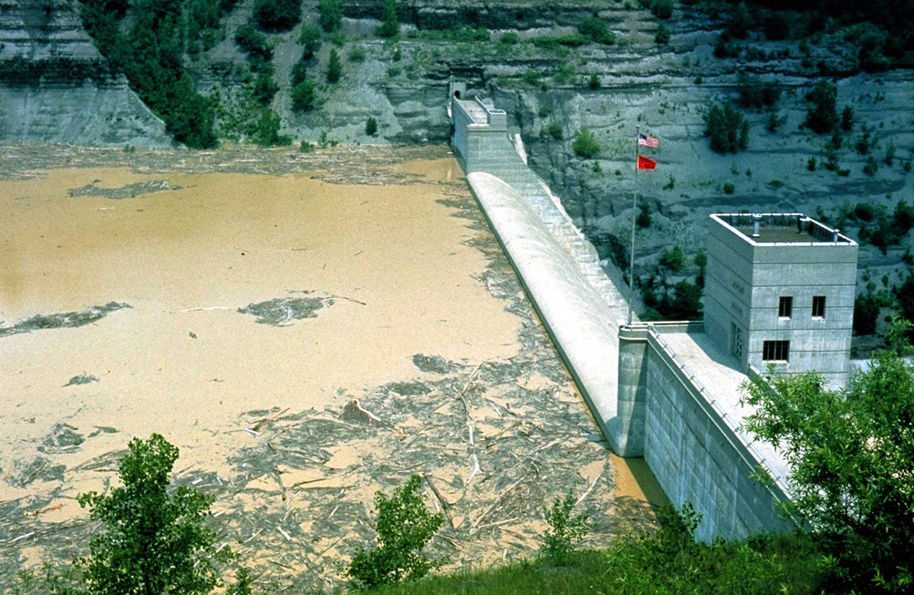 Mt. Morris Dam during the Flood of 1972
