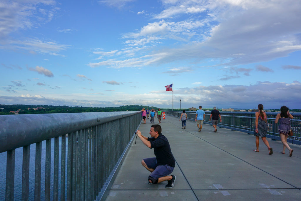 Seth Colegrove of Empire Explorer on the Walkway Over the Hudson