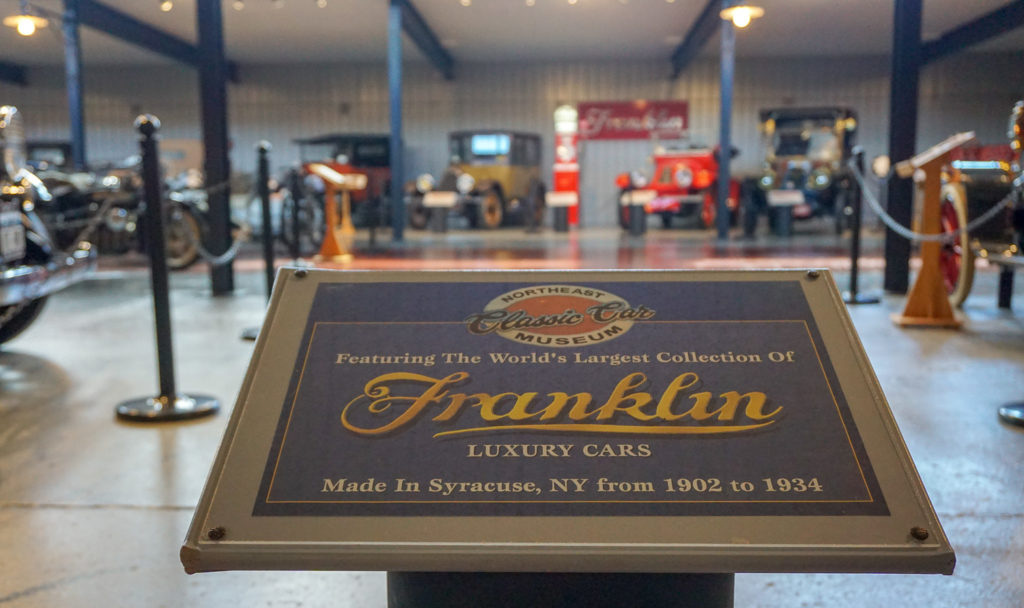 Franklin Cars Signage at the Northeast Classic Car Museum in Norwich, New York