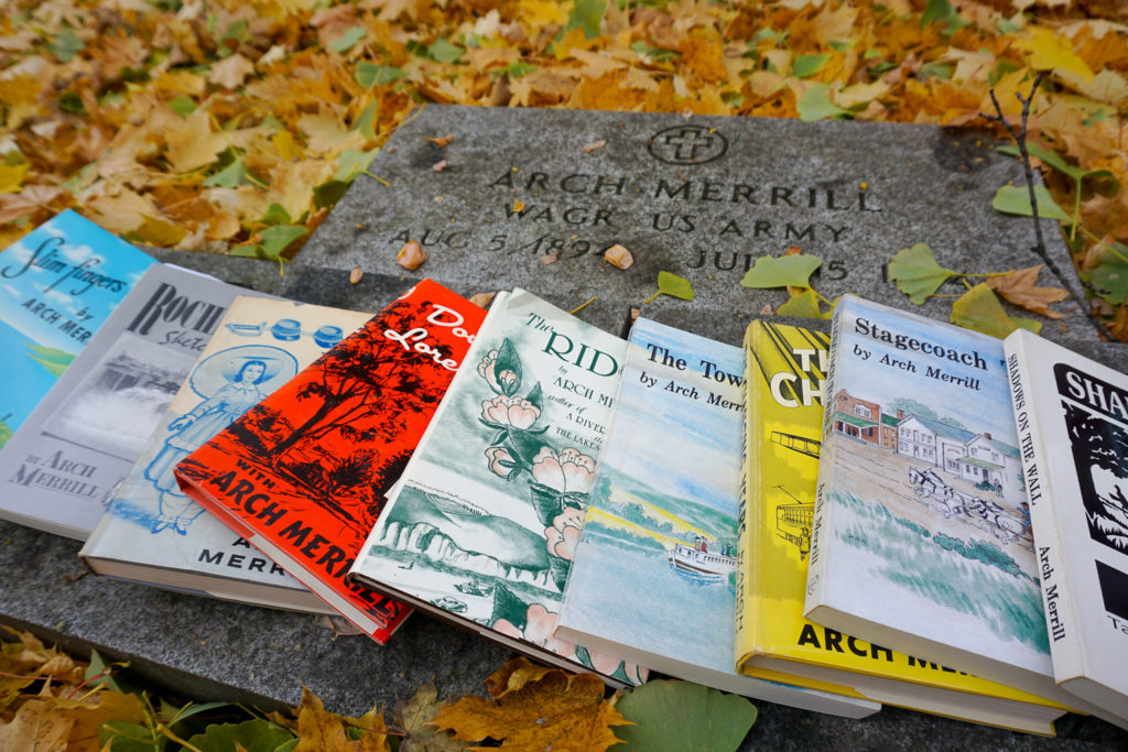 Gravesite and Books of Arch Merrill in Rochester, New York