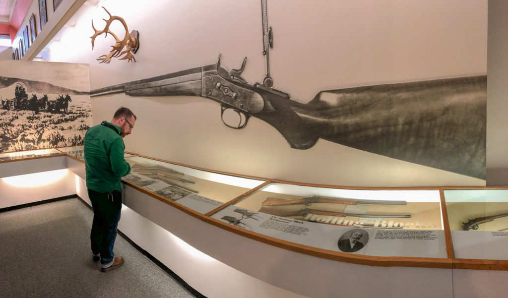 Chris Clemens in the Remington Arms Museum in Ilion, New York