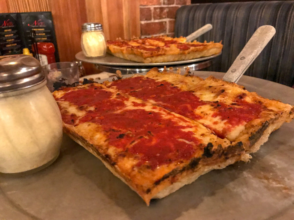 Detroit Style Pizza at Niki's in Greektown in Detroit, Michigan