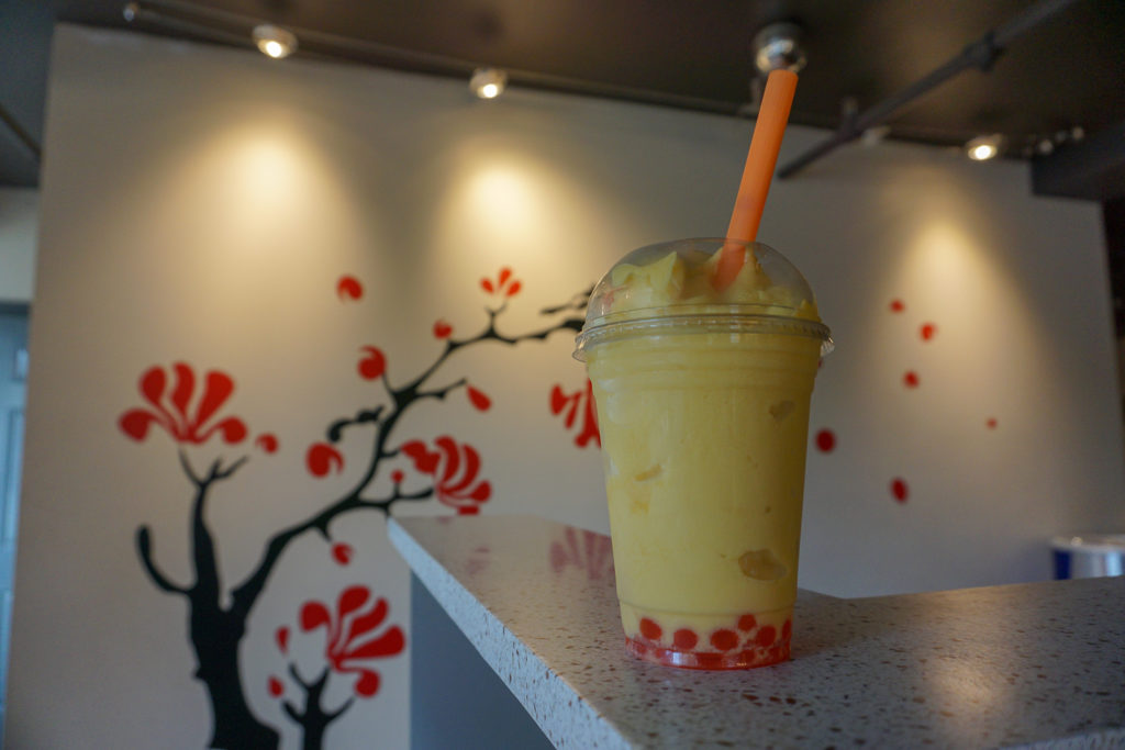 Mango Tea Smoothie at Unique Tea House in Syracuse, New York