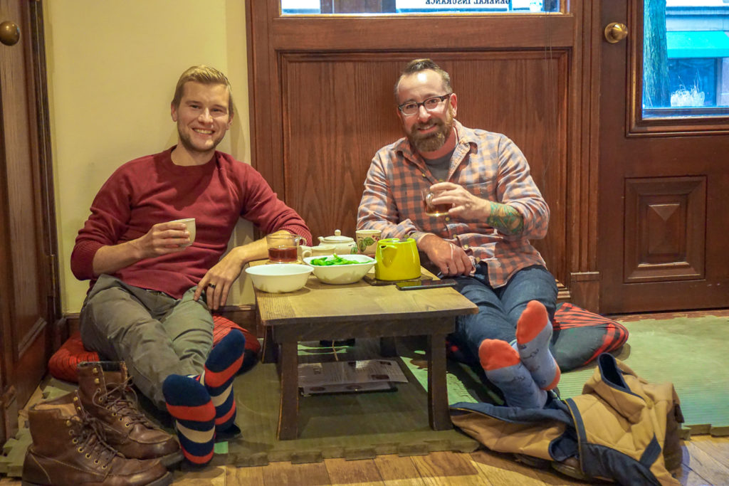 Andrew Brady and Chris Clemens of Exploring Upstate in Roji Tea Lounge in Syracuse, New York