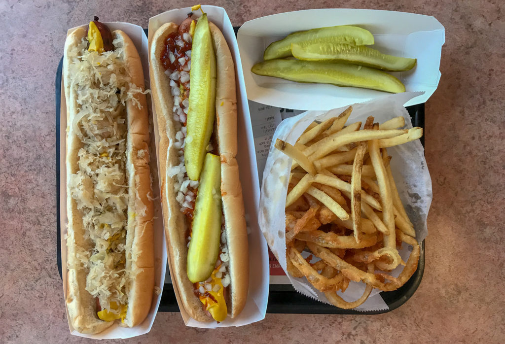 Foot Longs at Ted's Hot Dogs in Lockport, New York, Niagara County
