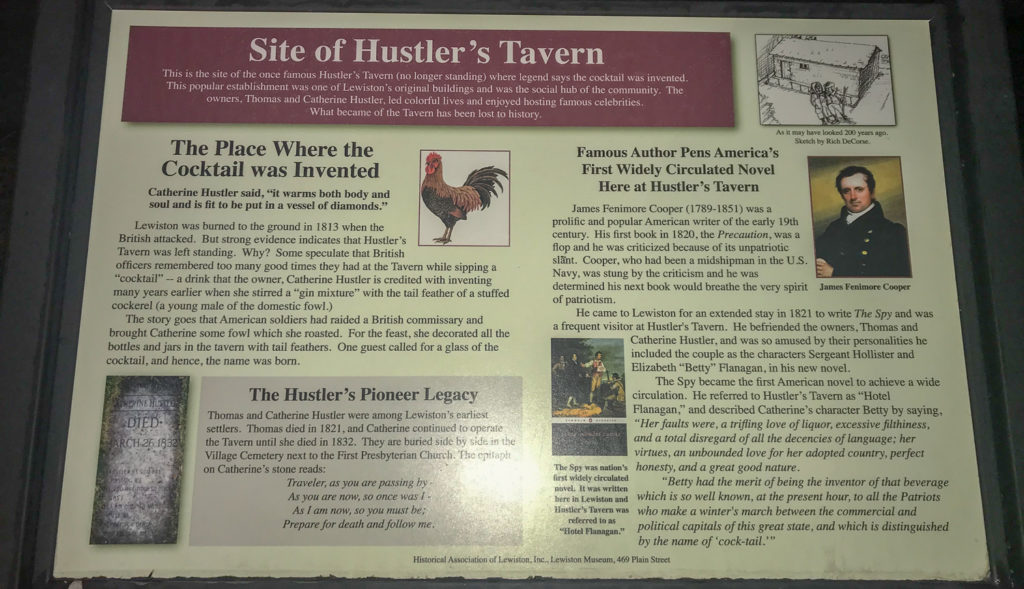 Historical Signage for Hustler's Tavern in Lewiston, New York, Niagara County