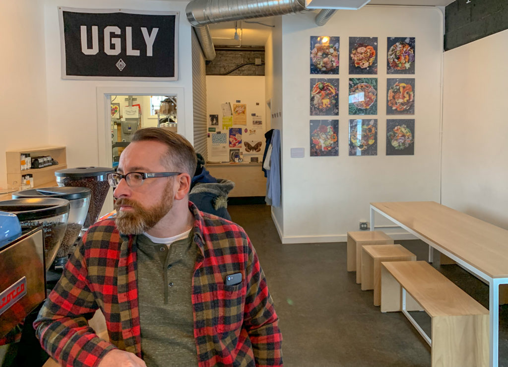 Chris Clemens at Ugly Duck Coffee in Rochester, New York