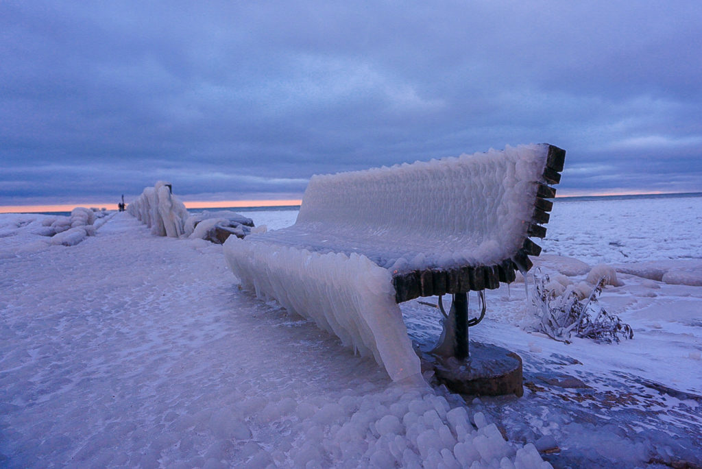 Frozen Bench at Webster Park on Lake Ontario