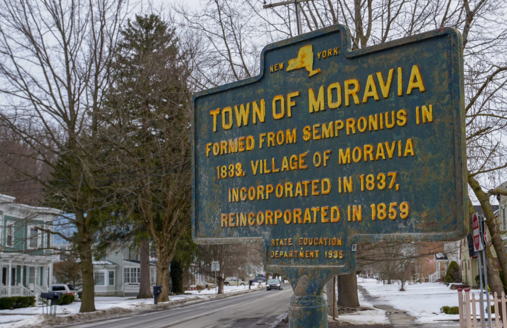 Town of Moravia Historical Marker in Cayuga County