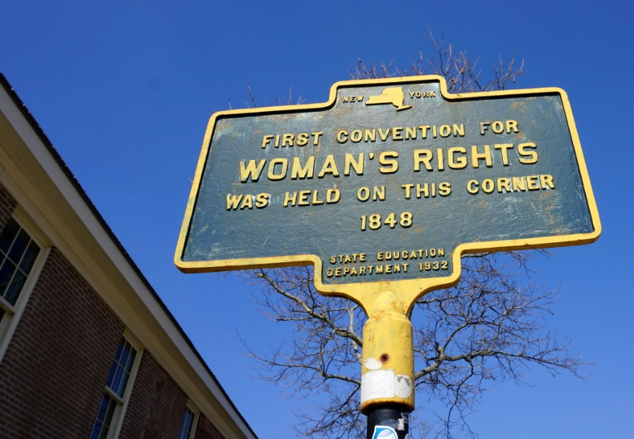 Woman's Rights Convention Historical Sign in Seneca Falls, New York