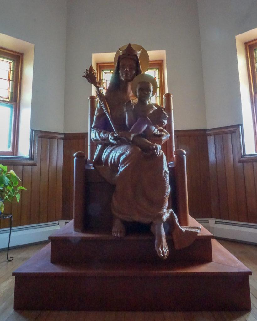 Virgin Mary Carved Statue at Trinity Episcopal Church in Seneca Falls