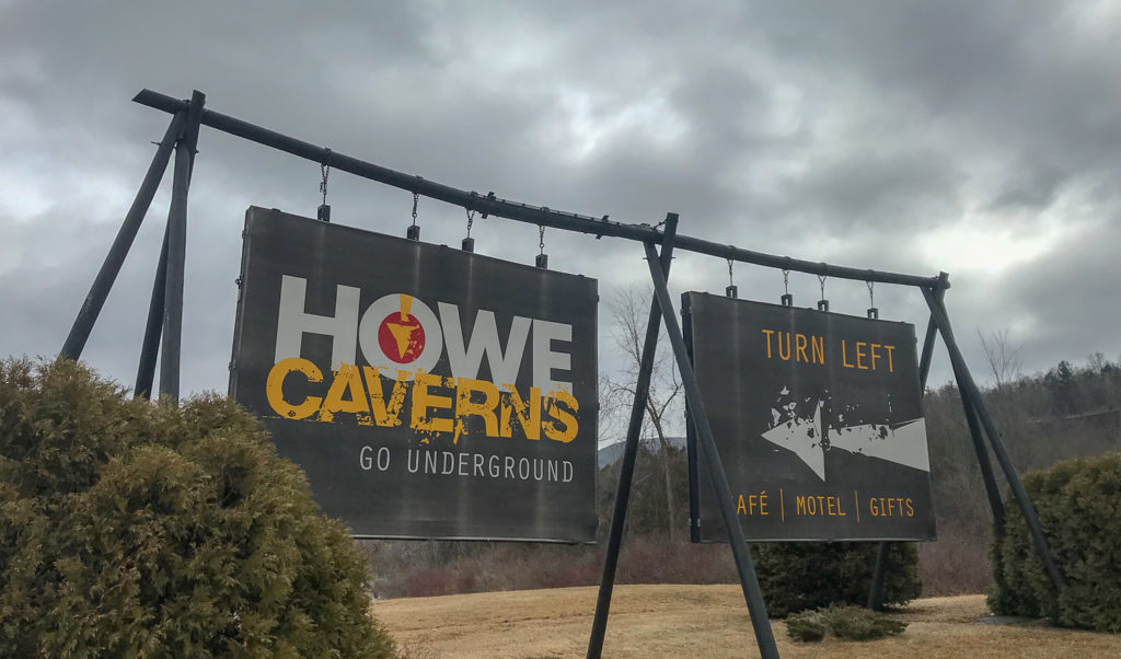 Signs for Howe Caverns on Route 7 in Schoharie County