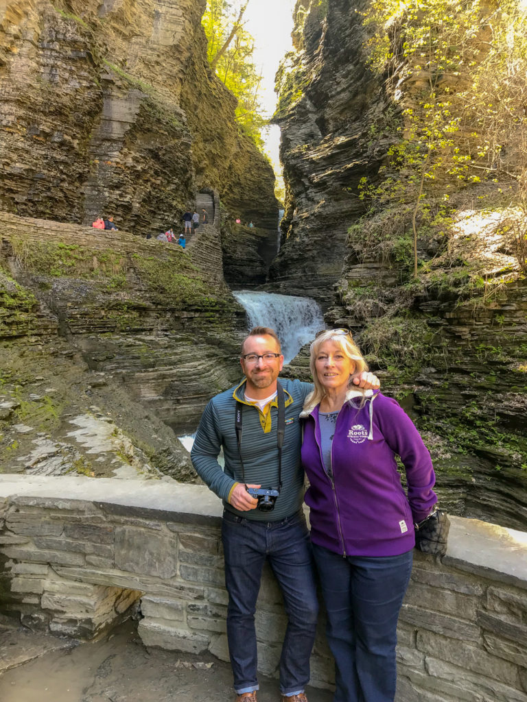Chris Clemens of Exploring Upstate and Mom in Watkins Glen State Park Gorge