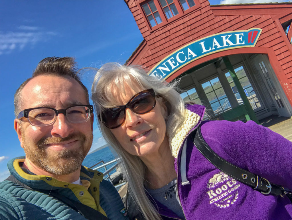 Chris Clemens of Exploring Upstate and mom on Seneca Lake in Watkins Glen