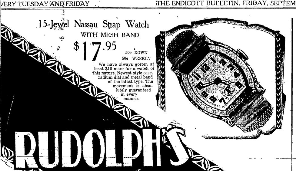 Rudolph's Watch Ad in Endicott Bulletin
